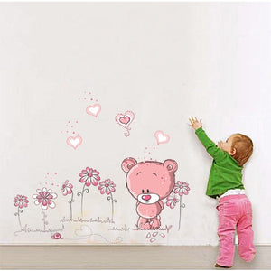 Pink Bear Removable Wall Stickers-DEj KidS