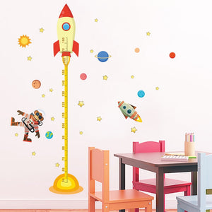 Space Rocket Growth Chart Removable Wall Stickers-DEj KidS