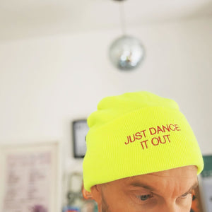 Neon yellow beanie hat