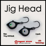 Black Glowbite Jighead LED fishing lure 14 g, 3/0 hook