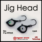 Black Glowbite Jighead LED fishing lure 21 g, 3/0 hook