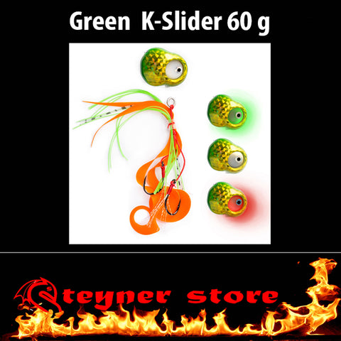 Glowbite Kabura K-Slider Green LED Fishing lure 60 g