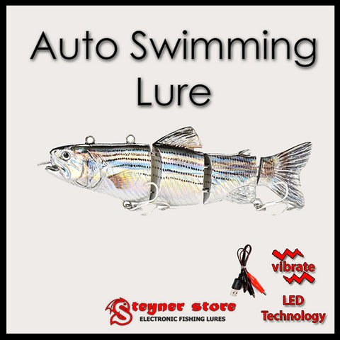 Auto swimming fishing lure Vibrating rechargeable LED Silver
