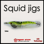 LED Squid jigs Lime