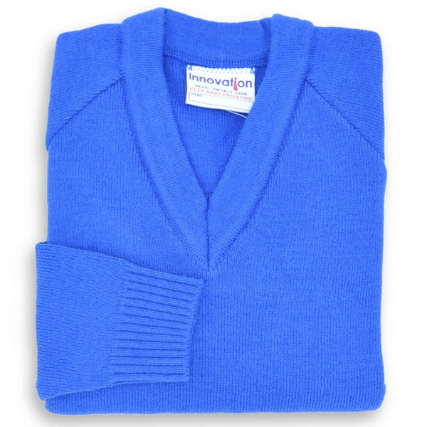 Jumper V Neck Knitted Royal (3-10)