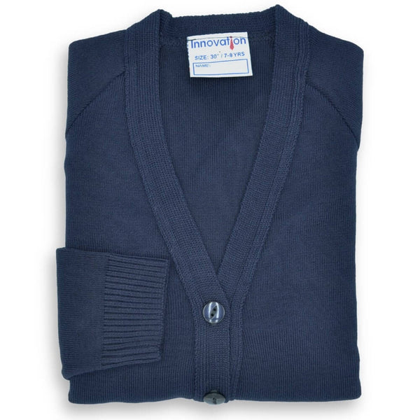 "Cardigan 50/50 Cotton Navy (24""-32"")"