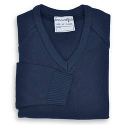 "Jumper V Neck Knitted 50/50 Navy (24""-32"")"