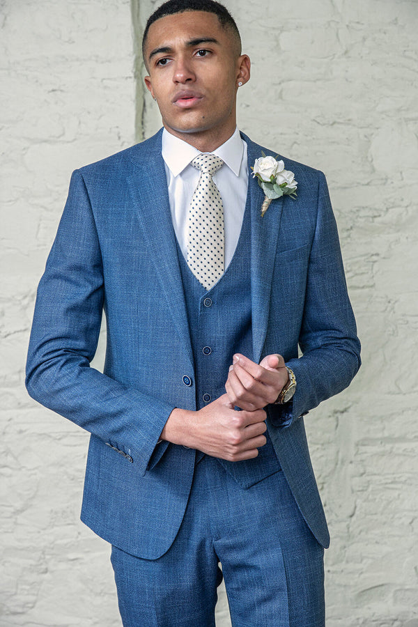 3pc Suit Denim Blue 8364 Tapered