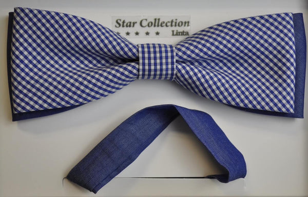 TBOW-18, White-Navy Check Bow Tie - cotton
