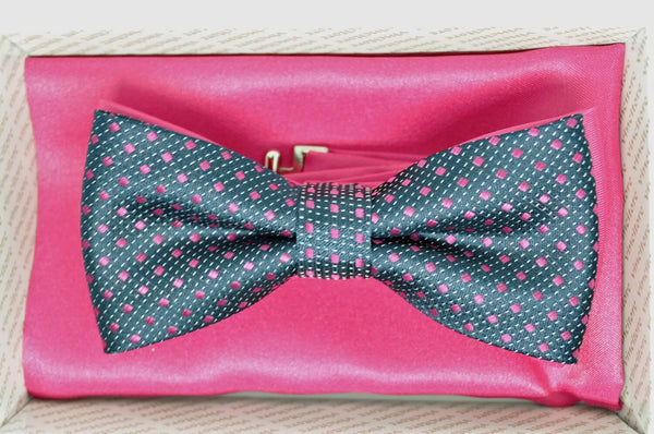 TBOW-21, Graphite-Pink Squares Bow Tie