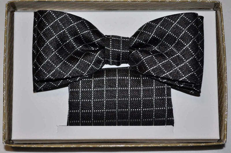 TBOW-9, Black - White Check Bow Tie