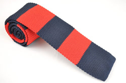TCPA-107, Red-Dark Navy Knitted Tie