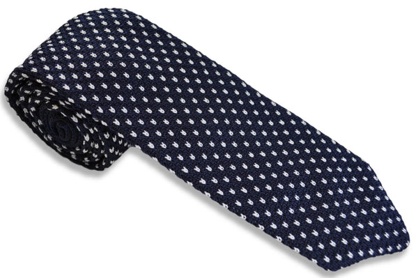 TCPA-110, Navy-White Knitted Tie