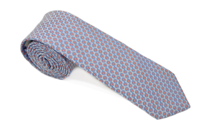 TCPA-113, Silver-Blue-Red Circle Tie