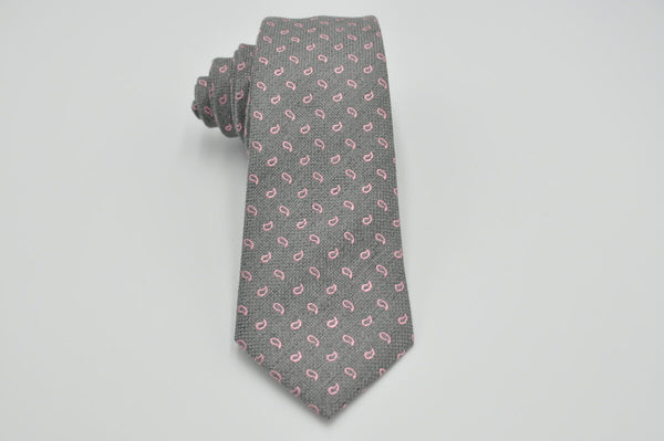 TCPA-25 Grey Pink Paisley Pattern Tie