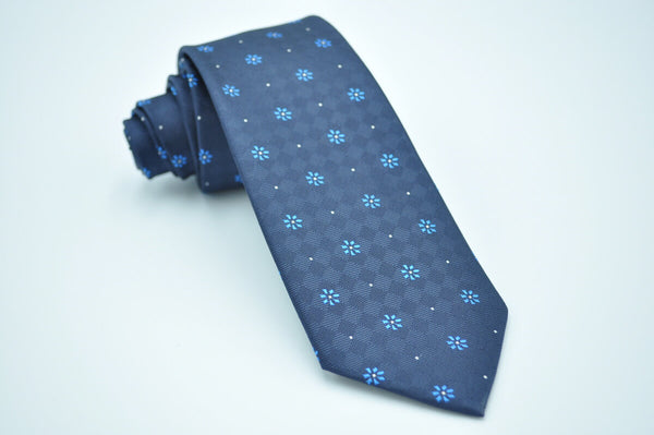 TCPA-34 Dark Navy Blue Flowers Pattern Tie