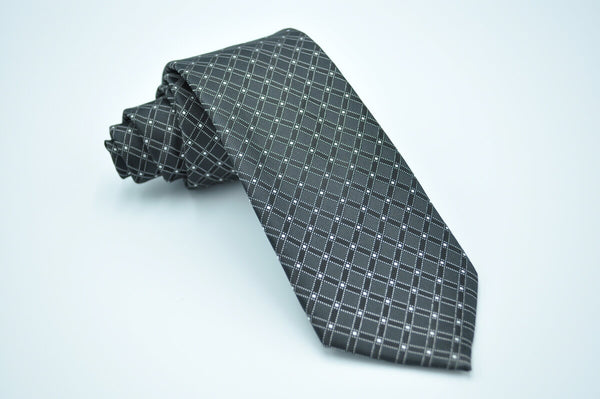 TCPA-53 Black Grey Check Pattern Tie