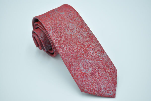 TCPA-66 Red Silver Paisley Tie