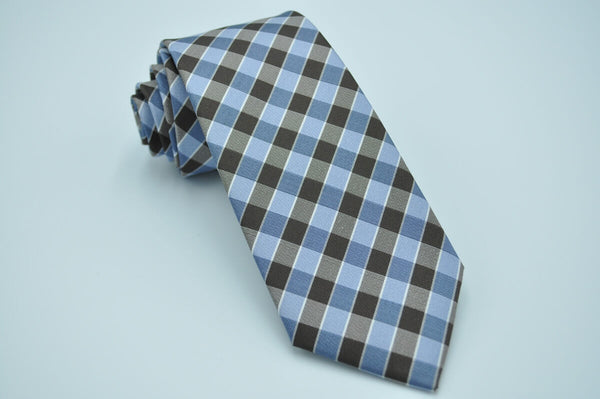 TCPA-68 Brown Blue Check Pattern Tie