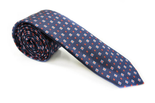 TSPA-21, Navy-Blue Square Skinny Pattern Tie