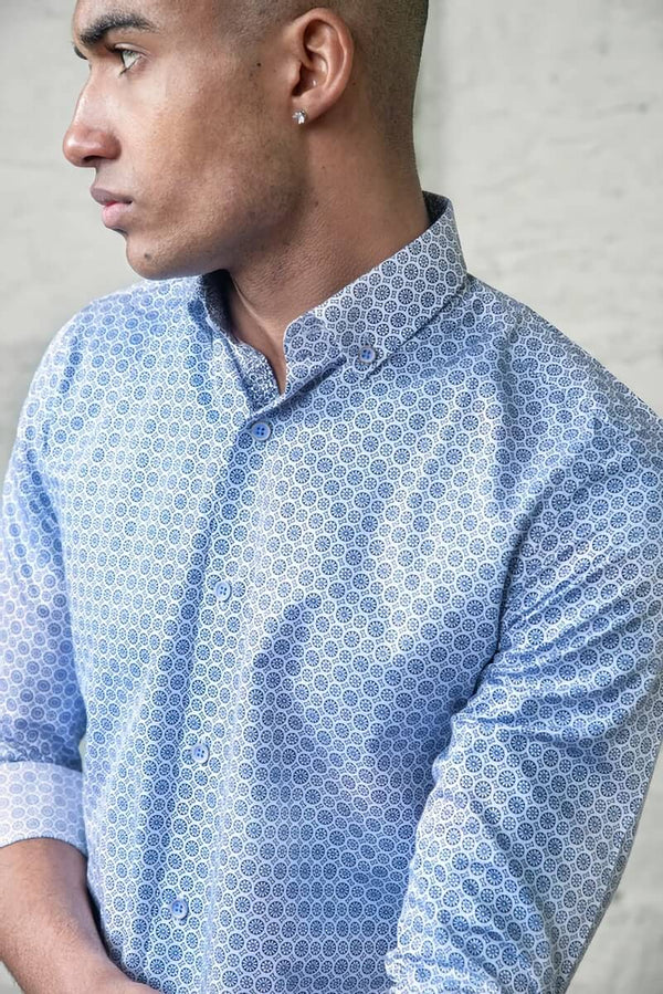 Shirt WL8327 White Blue Tapered