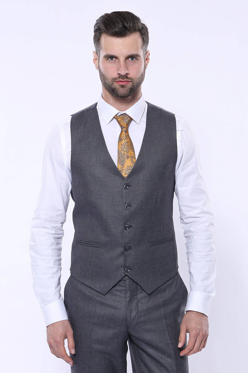Brown Grey 3pc Suit With Checked Blazer