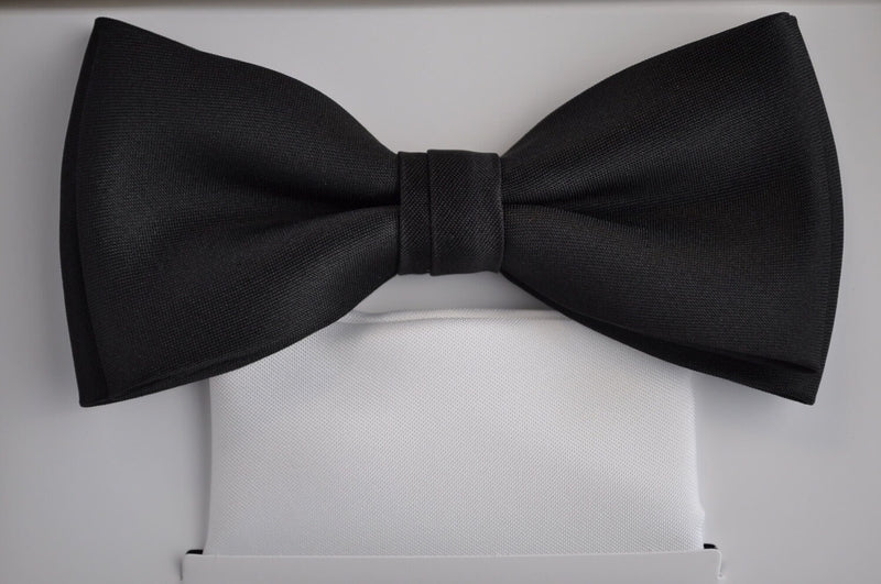 Black Bow Tie - White Handk.