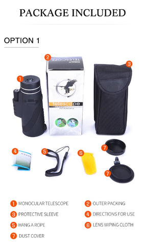 Professional Mobile Monocular Telescope Package includes