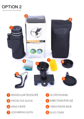 Professional Mobile Monocular Telescope ( with Phone Clip) package includes