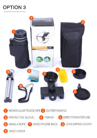 Professional Mobile Monocular Telescope (with Phone Clip + Tripod) Package includes