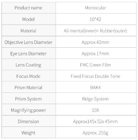 Specifications of Professional Mobile Monocular Telescope