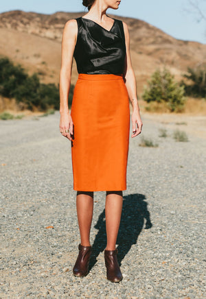The Slant-Vent Organic Cotton Skirt