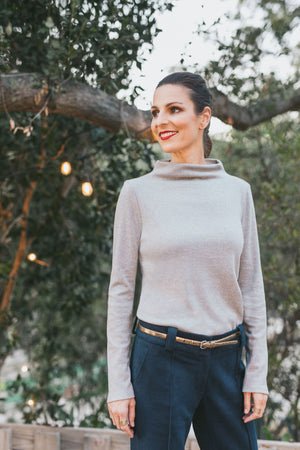 The T-Neck Organic Cotton Interlock Top