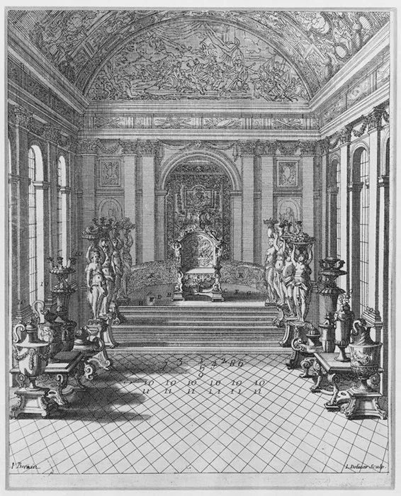 Etching of the presentation of Louis XIV's throne, 1686