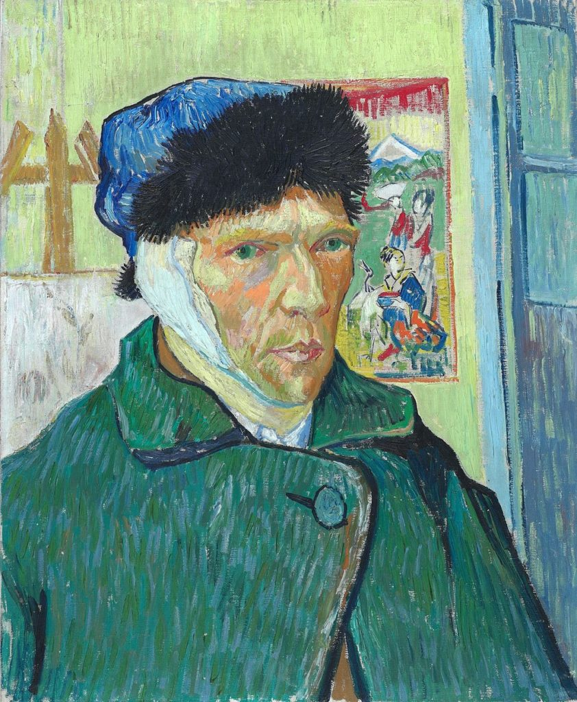 Self-portrait with Bandaged Ear by Vincent van Gogh. Circa 1889. Courtauld Institute of Art, London
