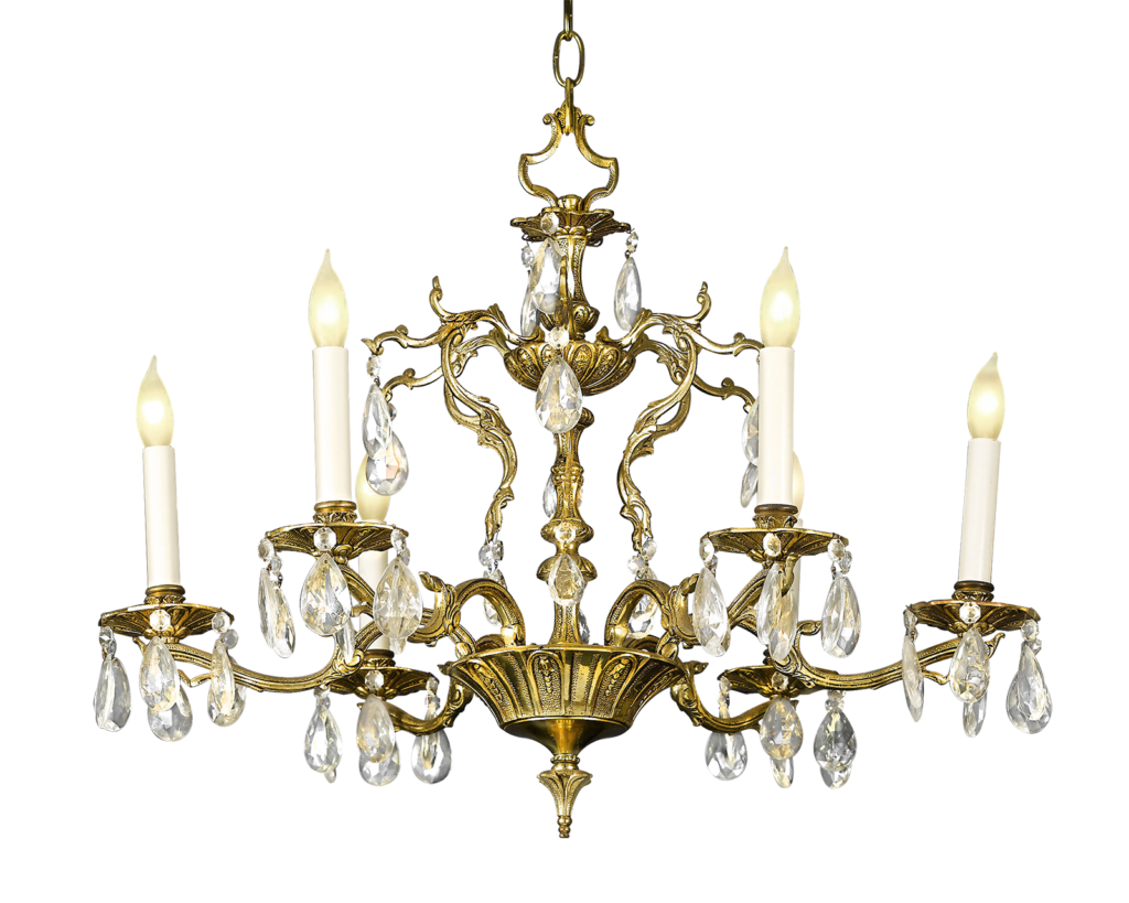 Dazzle your dining room with this six-light Crystal and Bronze Chandelier