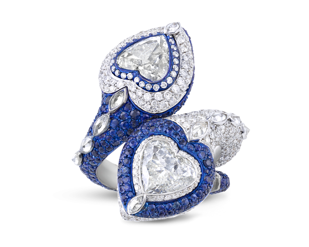 Heart-Shaped Diamond and Sapphire Bypass Ring