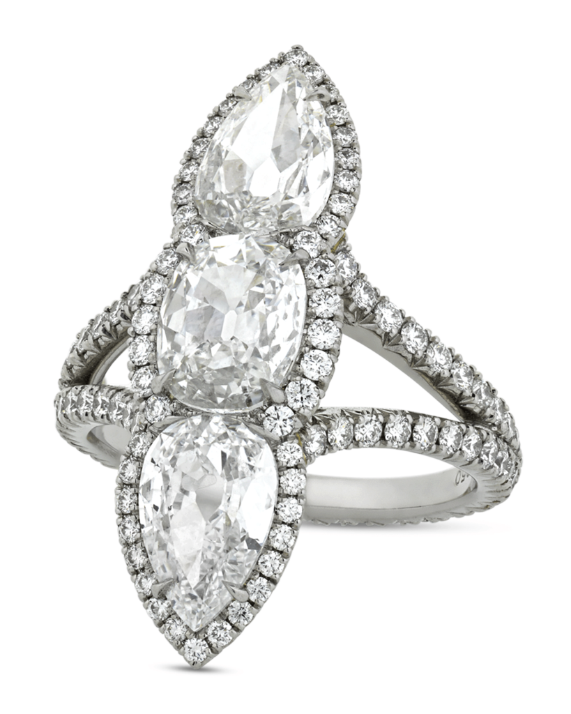 White Diamond North-South Ring, 3.04 Carats