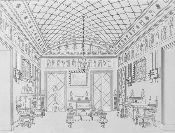 """""""The Egyptian Room,"""" Plate 8, Household Furniture & Interior Decoration by Thomas Hope, London, 1807"""