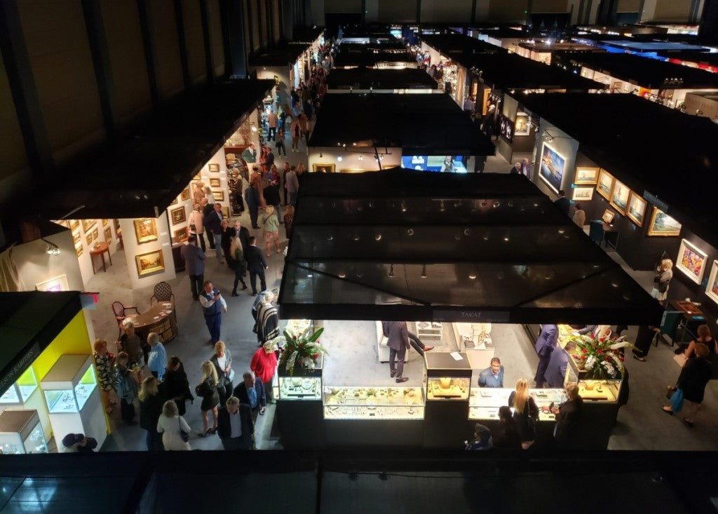 A bird's-eye view of the show floor on opening night at the 2019 Palm Beach Jewelry, Art & Antiques Show. —Annie Watt photo