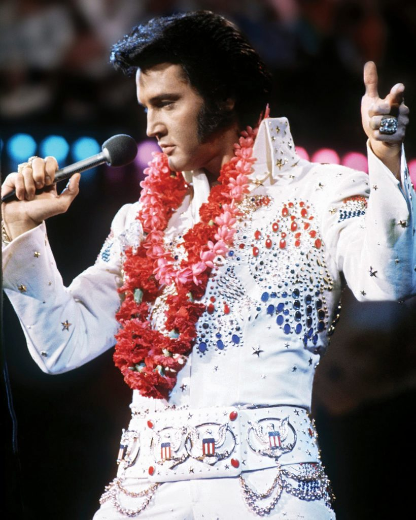 Elvis Presley, 1973 Aloha From Hawaii television broadcast. Image: Wikimedia Commons