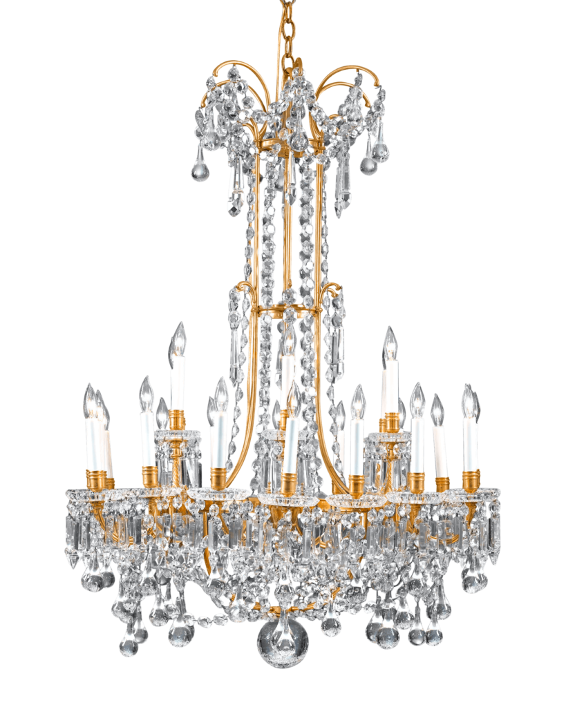 Featuring oversized drops and luminous prisms of fine Baccarat crystal, this French crystal chandelier is a masterpiece of opulent design and grand size. Circa 1880.