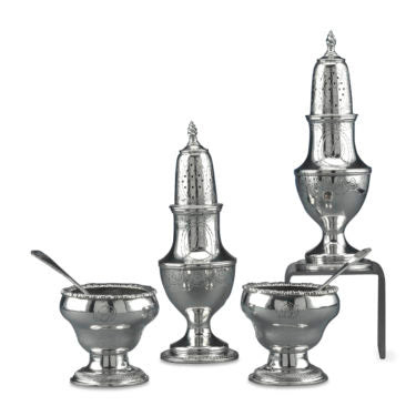 Early American Silver Salt and Pepper Service by Stephen Emery, circa 1790