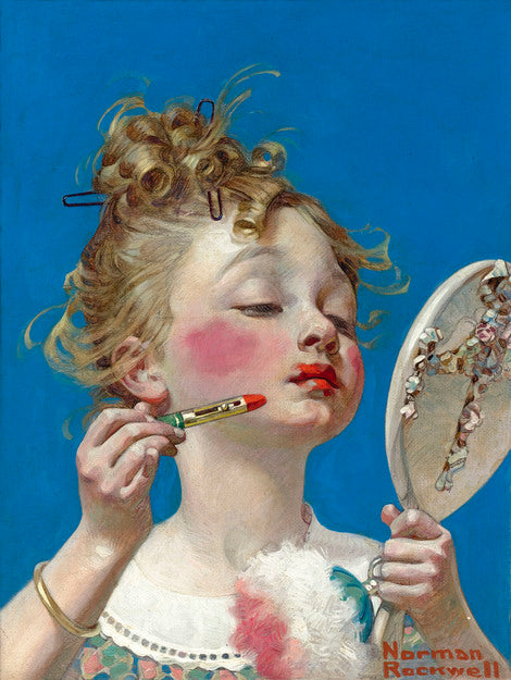 Little Girl with Lipstick by Norman Rockwell