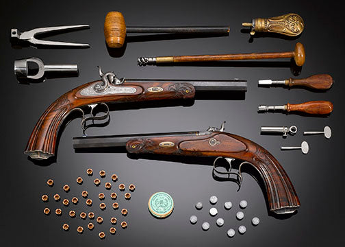 Outstanding craftsmanship and condition distinguish this handsome pair of percussion dueling pistols by F. Ulrich of Stuttgart, Germany