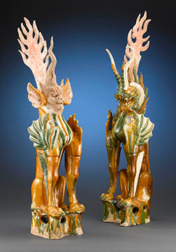 "These exceptionally rare and large antique sancai pottery earth spirits, or ch'i-t'ou, were crafted during the Tang dynasty (618-906 C.E.), a period referred to by historians as the ""golden age"" of Chinese ceramic craftsmanship. These commanding figures were used as tomb guardians to accompany and protect the deceased into the afterlife"