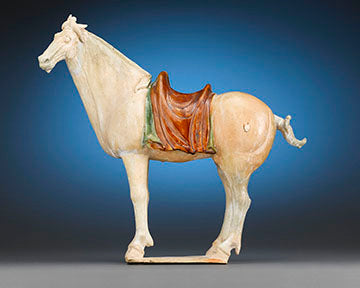 "This incredibly rare and large Sancai pottery figure of the fabled Ferghana horse dates back to nearly 1,400 years to the ""golden age"" of Chinese ceramic craftsmanship"