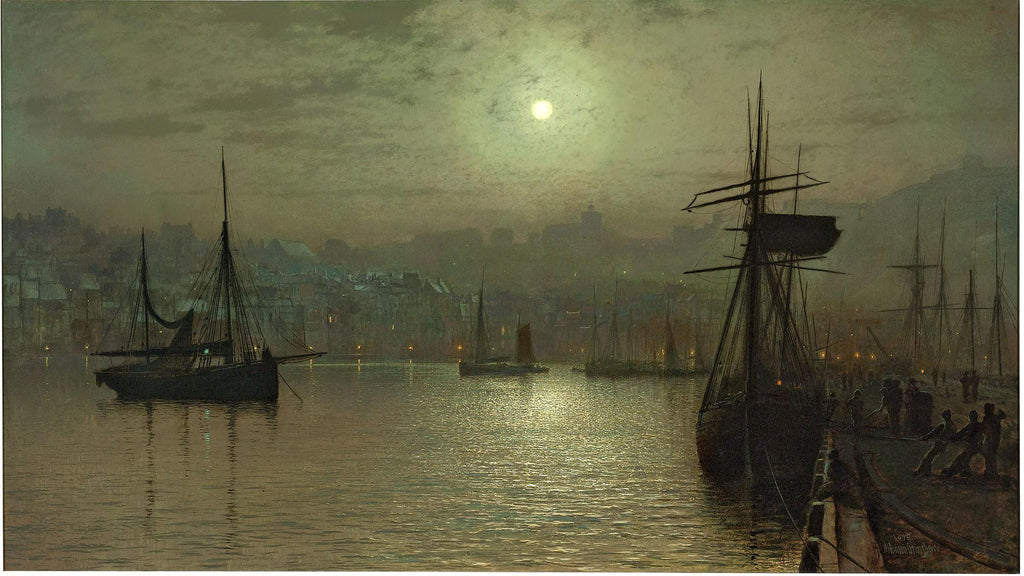 Old Scarborough, Full Moon, High Water by John Atkinson Grimshaw. Dated 1879.