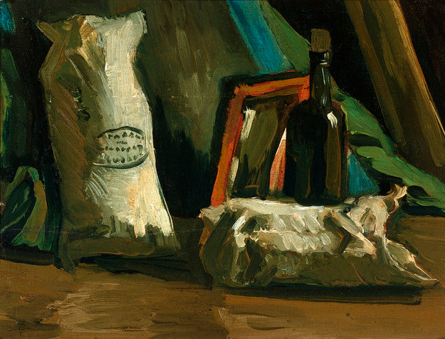 Still Life with Two Sacks and a Bottle by Vincent van Gogh, circa 1884-85