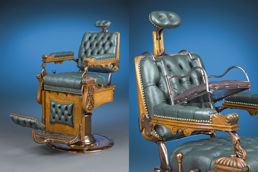 Green Seat Barber Chair with Baby Seat
